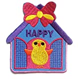 Happy Birdy Bird Kids Patch ''7.2 x 7.5 cm'' - Embroidered Iron On Patches Sew On Patches Embroidery Applikations Applique
