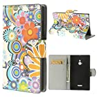 JUJEO Colorized Flowers Stand Leather Card Slot Case for Nokia XL Dual SIM RM-1042 SRM-1030 - Non-Retail Packaging - Multi Color