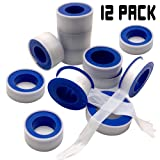 Teflon Tape - 12 Rolls PTFE Tape Thread Tape Thread Seal Tape Pipe Sealant Tape for Plumbers Plumbing for Shower Heads and Pipe Threads (Color: White)