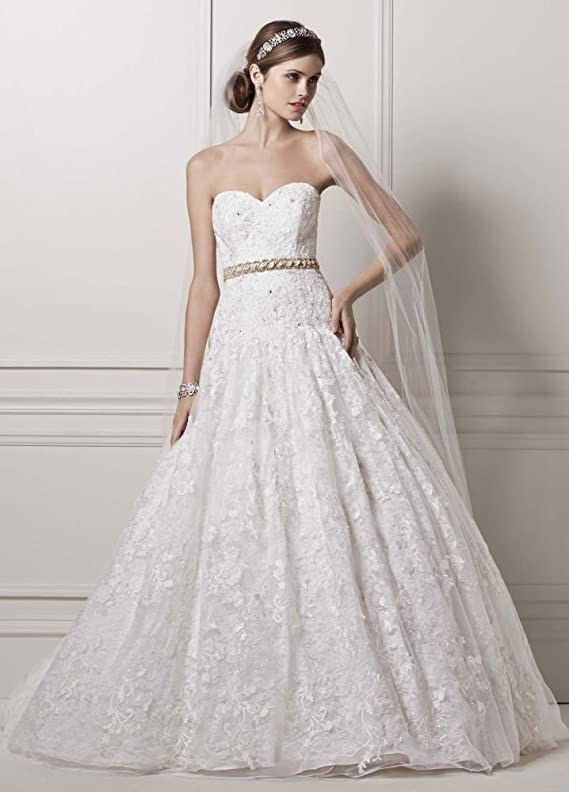 SAMPLE Strapless Ball Gown Wedding Dress with All Over Lace Appliques Style..