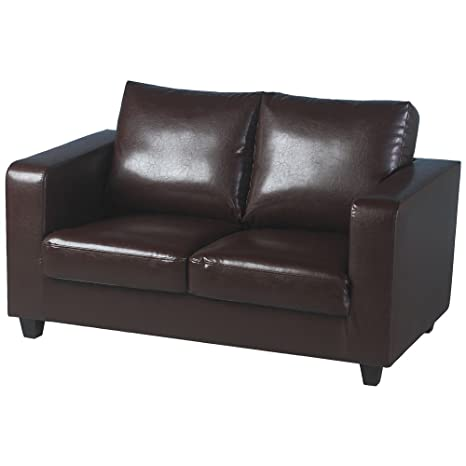 Tempo dos para sofá-in-A-caja café en la marrón sintética