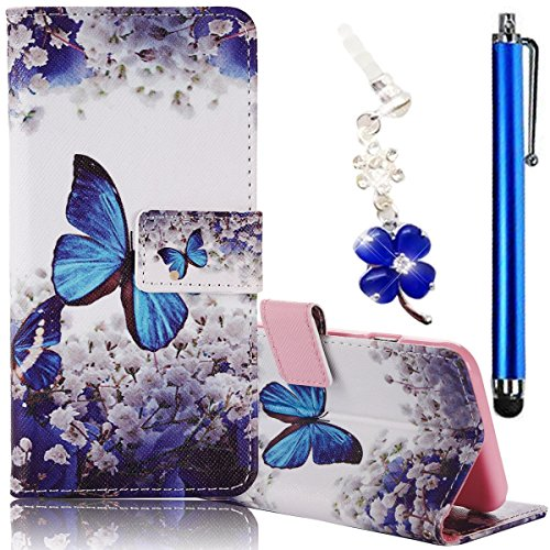 Samsung Galaxy J1 Ace Case, Boince 3 in 1 Accessory Magnetic Snap PU Leather Flip Wallet Case + [Diamond Antidust Plug] + [Metal Stylus Pen] Anti Scratch Shockproof Protective Bumper-Blue Butterfly (Samsung Ace Phone Wallet Cases compare prices)