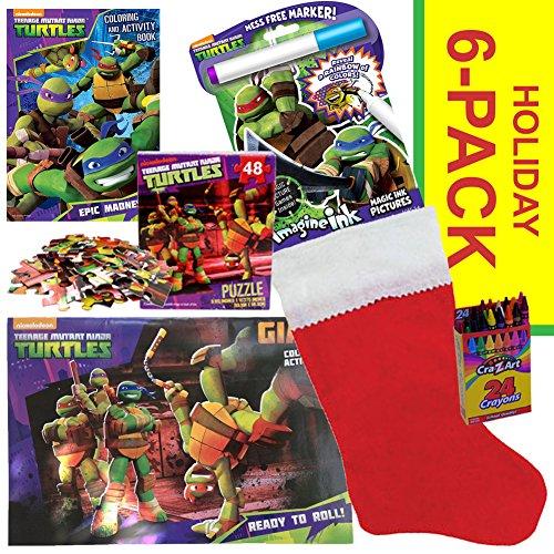 Teenage Mutant Ninja Turtles Christmas Stocking Stuffer Bundle - TMNT 6 PACK - Christmas Gift for Children Ages 3-8 (Ninja Turtle Stocking compare prices)