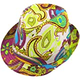 Women Summer Outdoor Paisley Pattern Yellow Fuchsia Fedora Trilby Hat