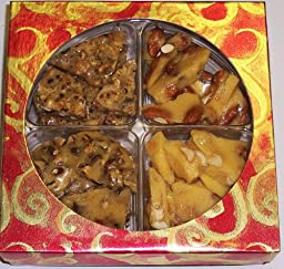 4 Pack of Assorted Brittle-Peanut, Pecan, Macadamia Nut, & Hazelnut in a Red & Gold Box