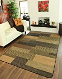 Country Cottage Black Khaki Patchwork Non Moving Hardwearing Jute Style Rugs 040 04 Panama - 7 Sizes Available