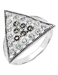 3.40 Grams Marcasite & White Cubic Zircon .925 Sterling Silver Ring