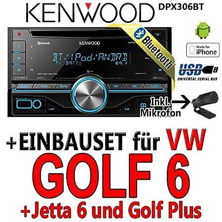 Kenwood-vW golf 6 dPX306BT 2-dIN bluetooth uSB avec kit de montage