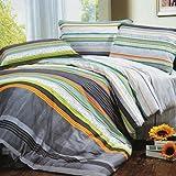 Blancho Bedding - [Tonal Stripe] 100% Cotton Comforter Cover/Duvet Cover Combo