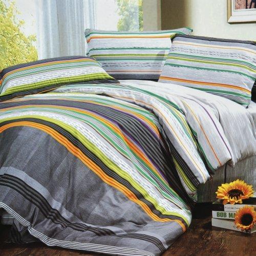 Blancho Bedding - [Tonal Stripe] Luxury 4Pc Comforter Set Combo 300Gsm (Twin Size) front-557168