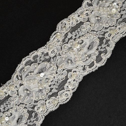 Review Of Beaded Sequin with Metallic Gimp Embroidery Ribbon Lace Trim, 3 Inch by 1 Yard, WHITE, ROI...
