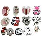 Timeline Trinketts Starter Charm Bracelet Beads Holiday Rhinestone Enamel Fits Pandora Jewelry European Style FREE Bead - Funny Hearts