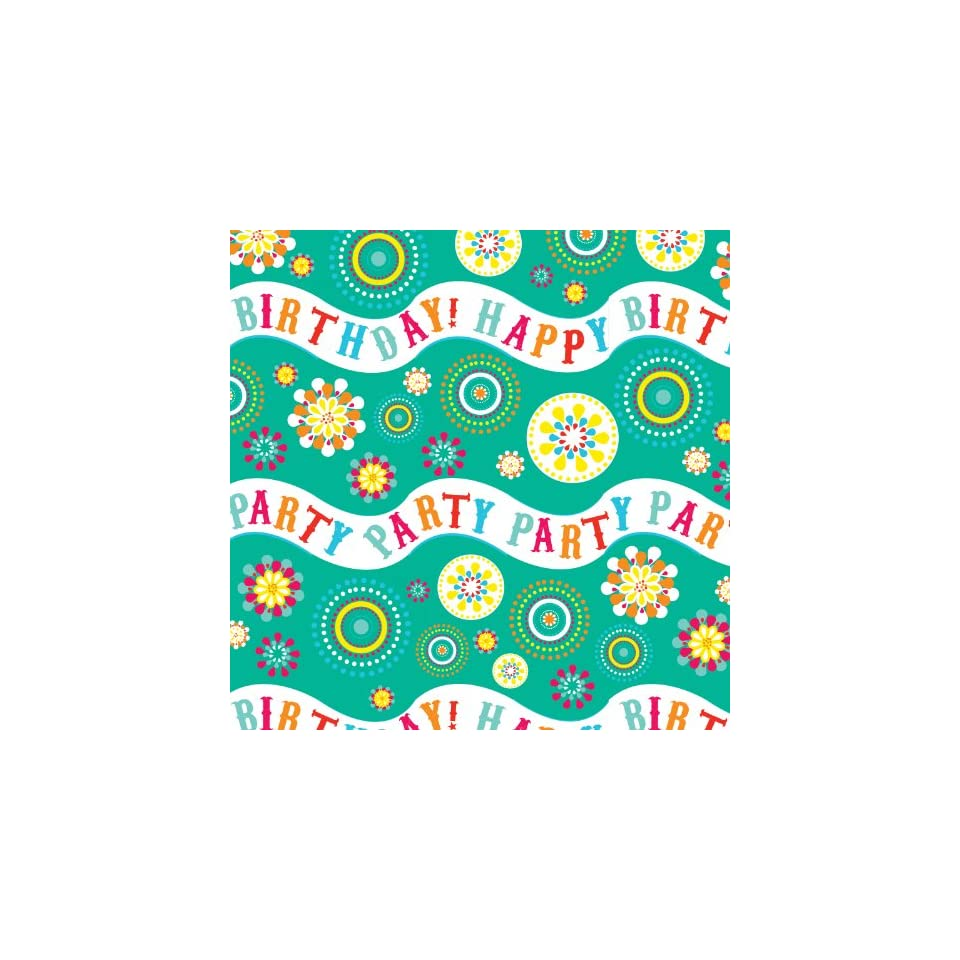 Jillson Roberts Recycled Flat Gift Wrap, Party Wave Birthday, 12 Sheet Count (F141)