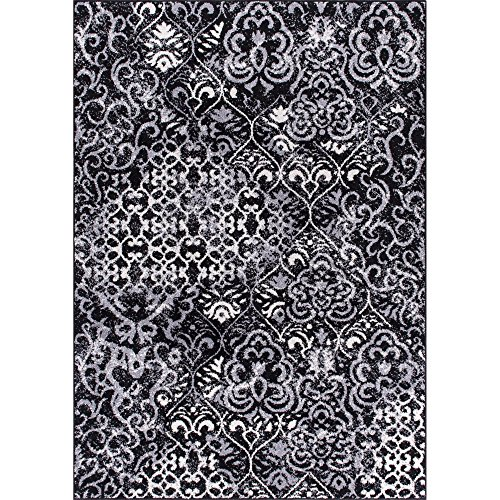 Rug Squared 5229 Riverside Patterned Contemporary Area Rug, 5-Feet 3-Inch by 7-Feet 3-Inch, Black