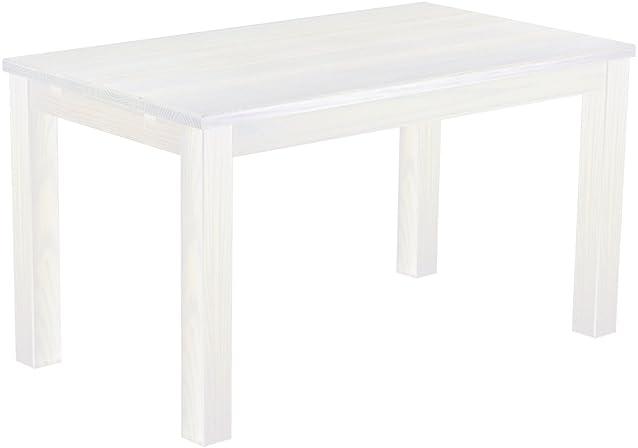 Brasilmöbel tavolo da pranzo, in legno di pino massiccio, oliata e cerata, bianco, L/B/H: 140x 80x 78cm