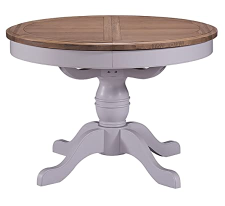 Devon Oak Pedestal Extending Round Dining Table Oak and Grey Painted Finish Seating for 6 People | Oval Wooden Dinner Table