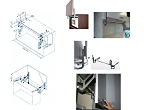 Cabinet Door Vertical Swing Lift Up Stay Pneumatic Arm Kitchen Mechanism Hinges (Color: Silver)