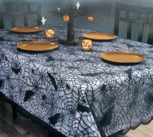 Black Lace Spider Web Tablecloth For Halloween Holiday