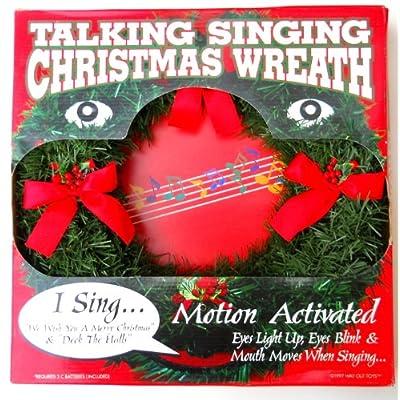 """Amazon.com - Christmas Wreath 14"""" Talking, Singing, Eyes Light up and"""