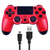 Wireless Controllers for PS4 Playstation 4 V2 Dual Shock (Red) (Color: Red)