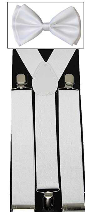 Men's Unisex Awesome WIDE White Suspenders And Matching Bow tie Set - Adjustable