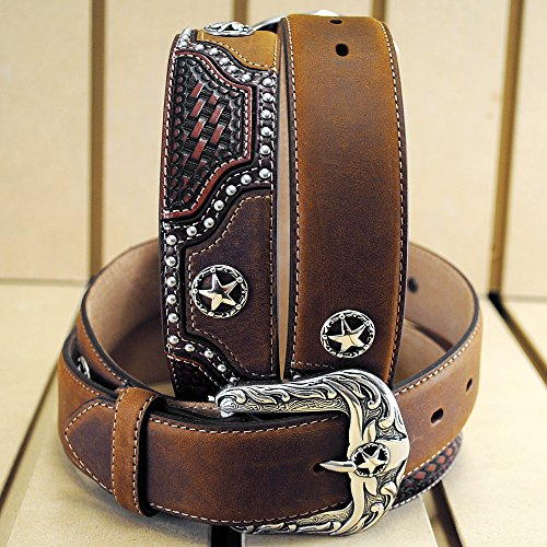 38in. JUSTIN TEXAS ALL STAR TOOLED WESTERN LEATHER MEN BELT BROWN (Justin Western Belts compare prices)