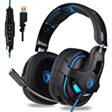 SADES PC Gaming Headset, 7.1 Surround Stereo Sound R15 USB Computer Gaming Headset 53mm Drivers with Microphone,Over-The-Ear Noise Isolating,Breathing LED Light Compatible Mac, Laptop,PC Gamers (Color: 7.1 R15 - USB, Tamaño: one size)