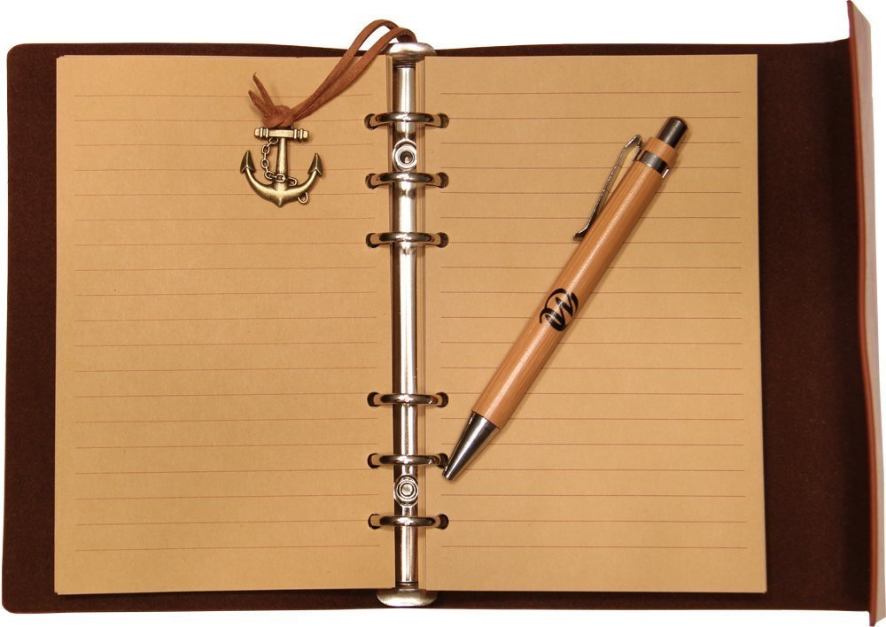 Classic Refillable Writing Journal (Naval Compass Embossing) - Vintage Leather (PU) Design- Includes Bamboo Pen 1