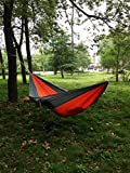 Enjoydeal Portable Parachute Nylon Fabric Travel Camping Hammock For Double Two Person (Grey & Orange)