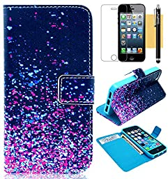GoodPro Series 3  Pattern K PU Leather Wallet Flip Case with Credit Card Holders for Apple iPhone 5 5S Bundle with Screen Protector, Stylus and Cleaning Cloth