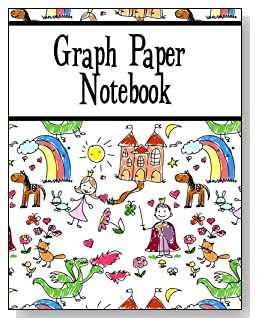 Graph Paper Notebook For Kids - Younger kids will love the storyland scene with prince, princess, castle, horse and rainbow that covers this graph paper notebook for young children.