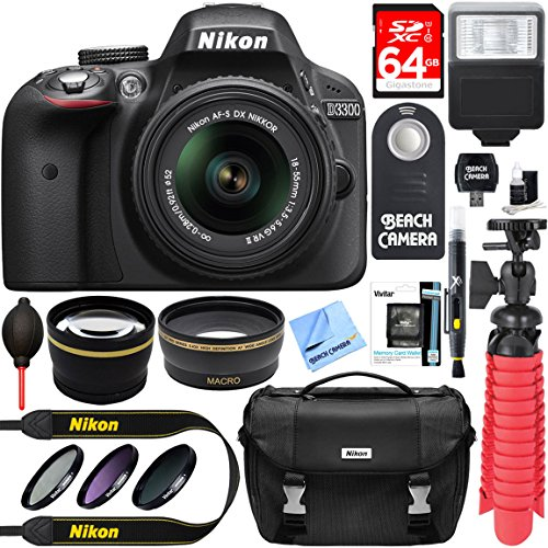 Nikon D3300 24.2 MP DSLR Camera + AF-S DX 18-55mm VR II Lens Kit + Accessory Bundle 64GB SDXC Memory + SLR Photo Bag + Wide Angle Lens + 2x Telephoto Lens + Flash + Remote + Tripod + Filters (Black)