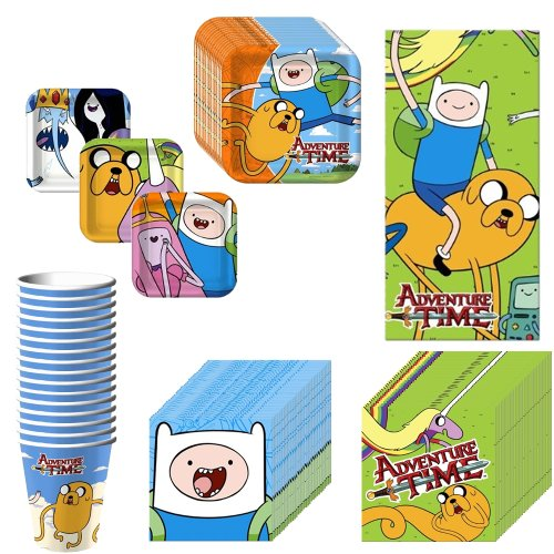Adventure Time Deluxe Party Supplies Pack Including Plates Cups Napkins And Tablecover