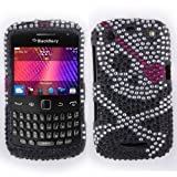 Fincibo (TM) Blackberry Curve 9360 9350 9370 Bling Crystal Full Rhinestones Diamond Case Protector - Skull