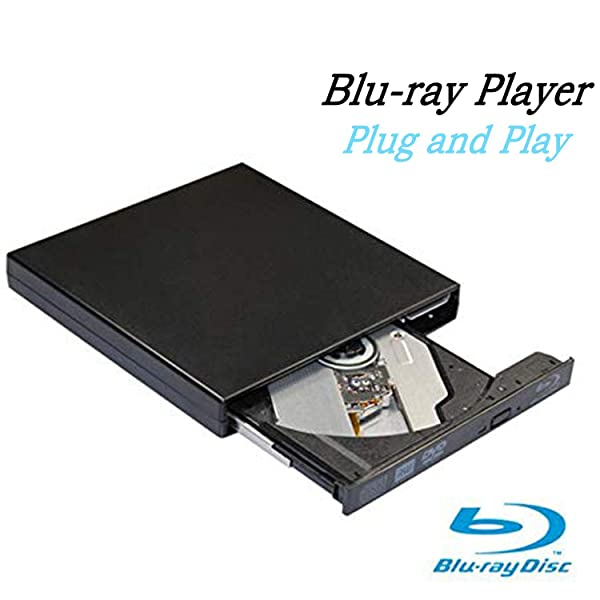 Blu-Ray Drive DVD Drive USB External Portable DVD Burner BD-ROM DVD/CD-RW/ROM Writer for Windows 2000/XP/Vista/Win 7/Win 8/Win 10 Notebook PC Desktop Computer,Plug and Play (Black) (Color: Black)