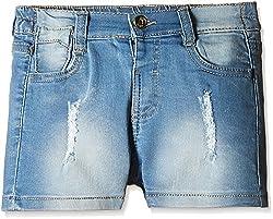 Nauti Nati Girls' Shorts (NSS16-721_Blue_24 - 36 Months)