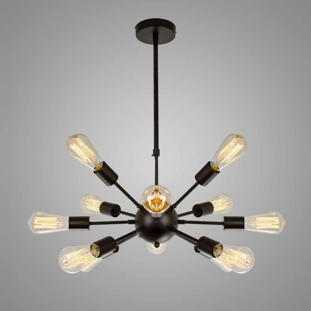 Electro_BP;Vintage Metal Large Chandelier With 12 Lights Black Finish 2
