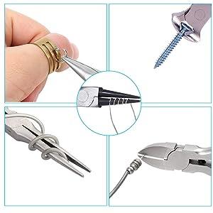 5 Piece Mini Pliers Set Professional Hand Tools Includes Needle Nose Pliers Long Nose Pliers Round Nose Pliers Diagonal Cutting Pliers End-Cut Pliers (Color: Black)