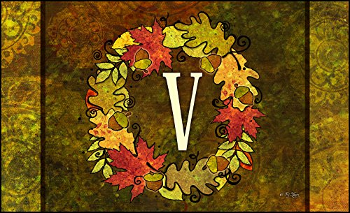 Toland Home Garden Fall Wreath Monogram V 18 x 30-Inch Decorative USA-Produced Standard Indoor-Outdoor Designer Mat 800141