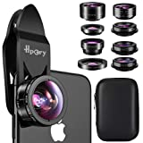 Hpory Phone Lens Kit 9 in 1, Universal Cell Phone Camera Lens for iPhone X/8/7/6/plus & Most Smartphone 0.63X 0.36X Super Wide Lens 15X 20X Macro Lens 198° Fisheye CPL Kaleidoscope Starburst 2X Lens (Color: Black Phone Lens Kit 9 in 1, Tamaño: 9 IN 1)