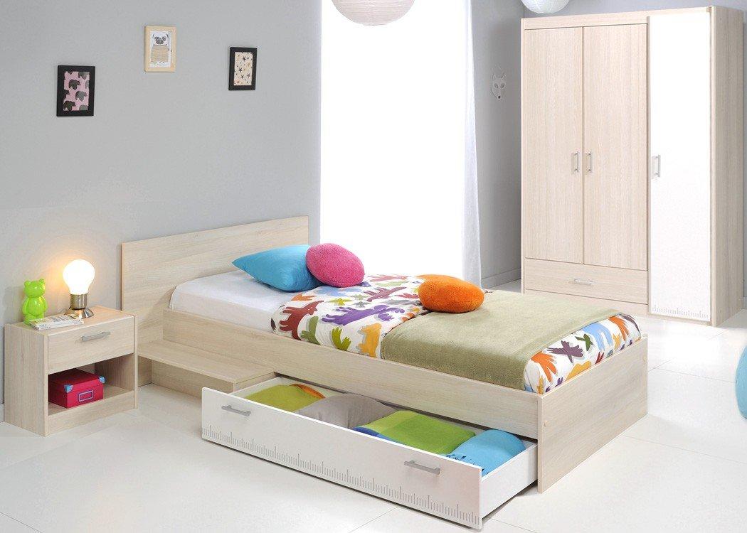 Jugendzimmer Chiron 14 Akazie Nb Jugendbett 90×200 Kinderbett Bett Nachttisch Nako Kleiderschrank Schrank Kinderzimmer günstig online kaufen