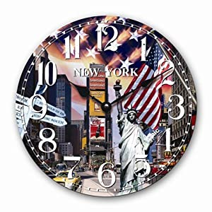 Horloge murale new york big apple cuisine quartz horloge for Horloge murale new york