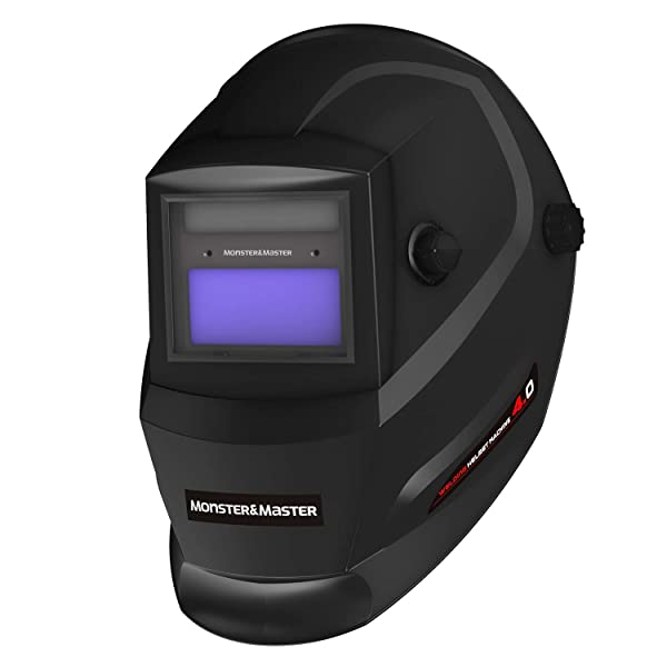 Monster&Master Large Viewing Screen Auto Darkening Welding Helmet, 2 Arc Sensor Wide Shade, MM-WH-003 (Color: Black, Tamaño: Medium)