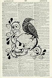 Raven on a Skull ART PRINT - ANIMAL ART PRINT - WILDLIFE ART PRINT - NATURE ART PRINT -STEAMPUNK ART PRINT - VINTAGE ART - Illustration - Vintage Dictionary Art Print - Home Décor - Book Print 469D