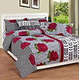 Soni Traders Floral Print Polycotton Double Bedsheet With 2 Pillow Covers (BST_120, Pink)