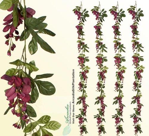 Four 6' Artificial Wisteria Garlands Silk Flowers_Burgundy