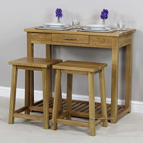 New London Solid Oak Breakfast Bar Kitchen Table and 2 Stools