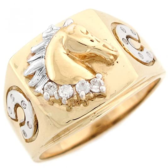 9ct Two Colour Real Solid Gold White CZ Stallion Head Mens Ring