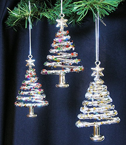 Glass Christmas Tree Ornaments Xmas Trees with Stars & Snowflake Glitter