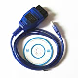 1M Auto Car Diagnostic Scanner Tool ProTocol VAG COM KKL 409.1 OBD2 K-Line KWP2000 ISO9141 USB Cable FOR VW AUDI SKODA (Color: Blue, Tamaño: 1M)